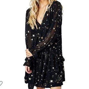 Shimmer Ruffle Star Print Dress